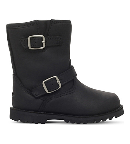 UGG Harwell leather boots 2-4 years (Black