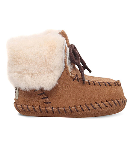 UGG Sparrow suede and sheepskin boots 0-12 months (Brown