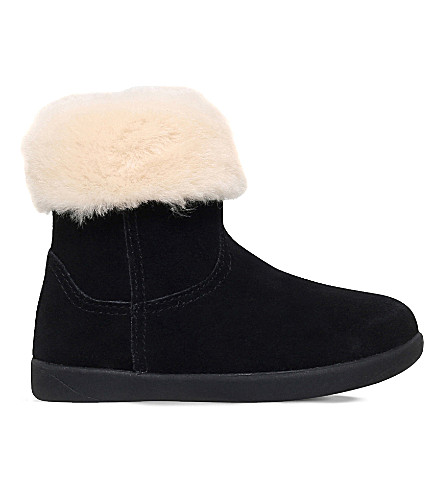 UGG Jorie ii suede and sheepskin boots 2-5 years (Black