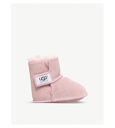 0-12 月 (苍白 + 粉红色) 麂皮绒和羊皮靴