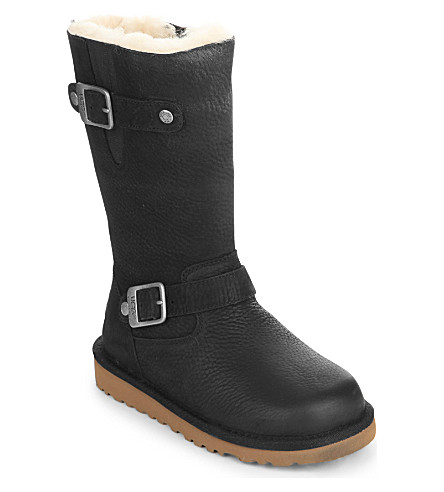 UGG Kensington leather boots 6-7 years (Black