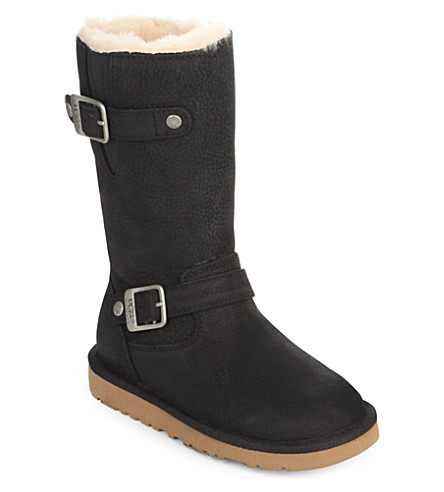 UGG Kensington leather boots 6-9 years (Black