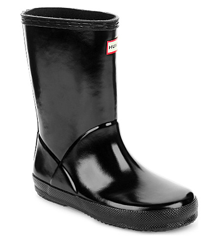 HUNTER 孩子第一光泽雨靴2-7 年 (黑色