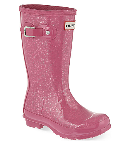 HUNTER Original kids glitter wellies 3-7 years (Fushia