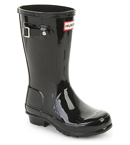 HUNTER Original kids gloss wellington boots 7-10 years (Black
