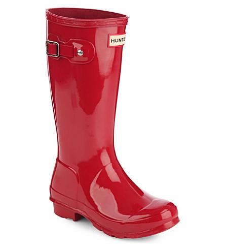 HUNTER 原始的孩子光泽雨靴7-10 年 (红色