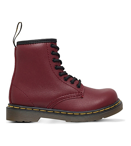 DR MARTENS Brooklee leather boots 2.5-5 years (Red/dark