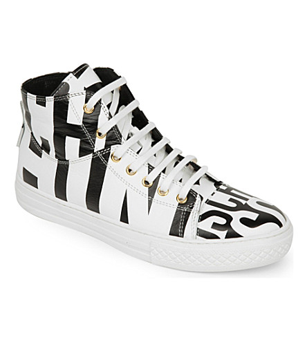 MOSCHINO Logo high-top sneakers 7-11 years (White/blk