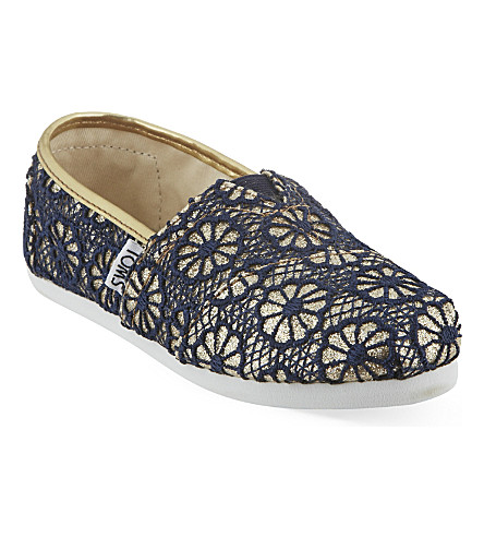 TOMS Glittering lace flats 6-12 years (Gold