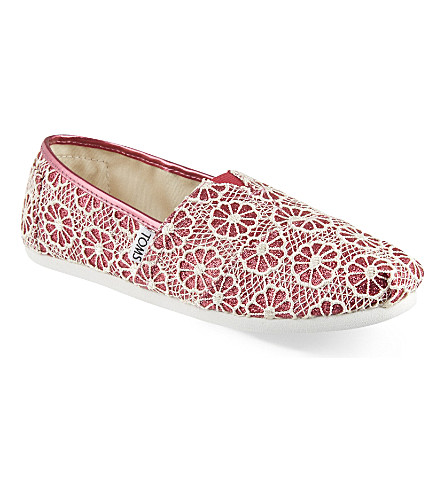 TOMS Glittering lace flats 6-12 years (Pink