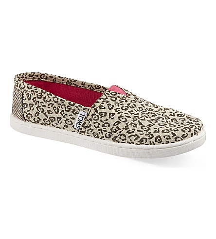TOMS Classics leopard print canvas shoes 6-12 years (White
