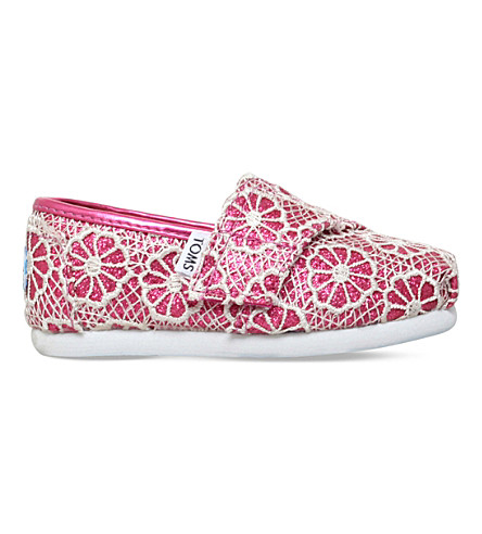 TOMS Seasonal classic crochet slip-on shoes 2-7 years (Pink