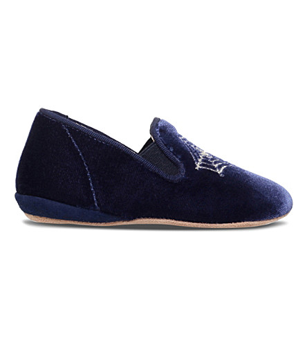 CHARLOTTE OLYMPIA Wincy velvet slippers 6months - 3years (Navy