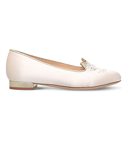 CHARLOTTE OLYMPIA Incy kitty satin ballerina flats 6-8 years (White