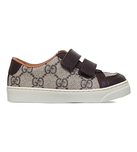 GUCCI Brooklyn canvas and leather trainers 2-4 years (Brown
