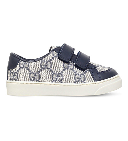 GUCCI Brooklyn canvas and leather trainers 2-4 years (Navy