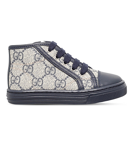 GUCCI California canvas and leather high-top trainers 2-4 years (Navy