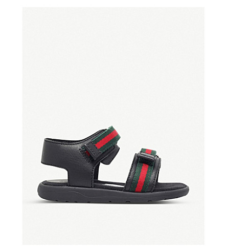 GUCCI Gauffrette leather sandals 5-8 years (Black