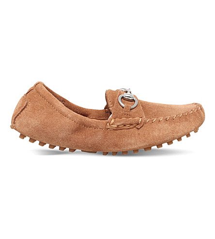 GUCCI Road horsebit suede loafers 4-8 years (Tan
