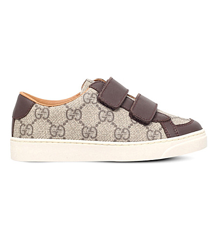 GUCCI Brooklyn canvas and leather trainers 5-8 years (Brown