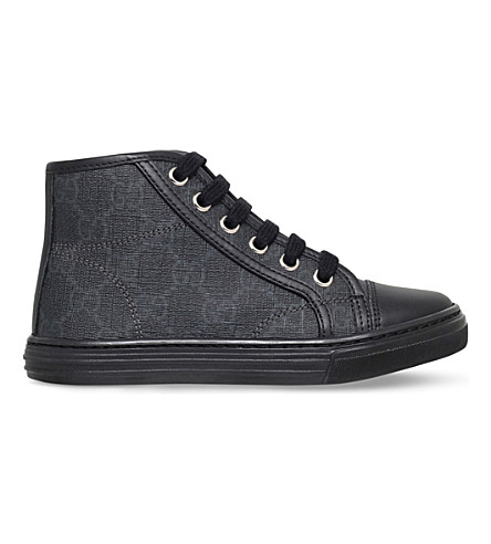 GUCCI California canvas and leather high-top trainers 5-8 years (Blk/grey