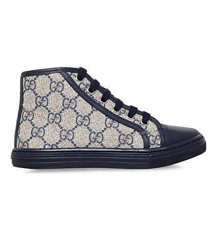 GUCCI California canvas and leather high-top trainers 5-8 years (Navy