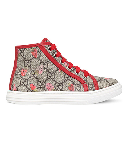 GUCCI California canvas and leather high-top trainers 5-8 years (Brown/oth