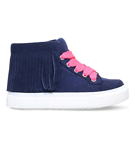 MINI MISS KG Fringe high-top suedette trainers 5 - 7 years (Navy