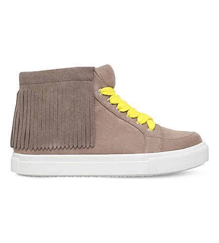 MINI MISS KG Fringe high-top suedette trainers 7 - 10 years (Taupe