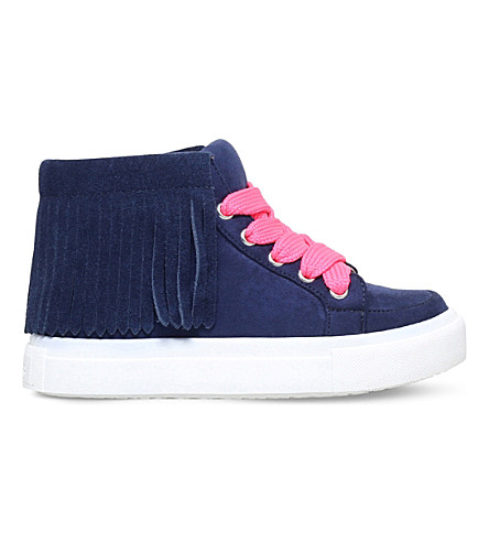 MINI MISS KG Fringe high-top suedette trainers 7 - 10 years (Navy