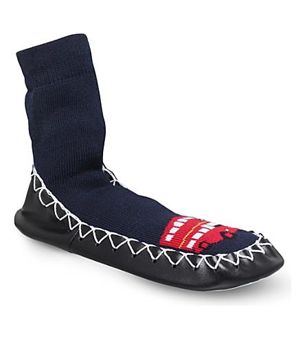MOCCIS 伦敦呼唤棉花和皮革拖鞋 (海军