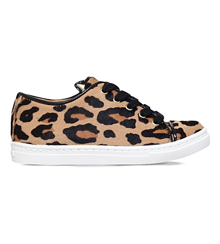 CHARLOTTE OLYMPIA Incy purrrfect leopard-print leather trainers 3-8 years (Taupe comb