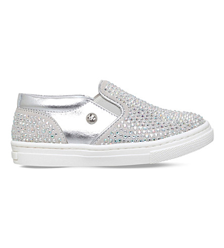 MISSOURI Blossom crystal-embellished slip-on leather trainers 2-5 years (Silver