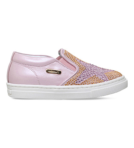 MISSOURI Clover crystal-embellished slip-on leather trainers 2-5 years (Pink