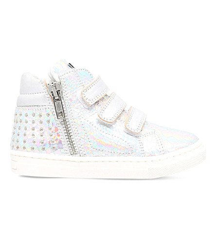 MISSOURI Rose reptile-embossed leather high-top trainers 2-5 years (Silver