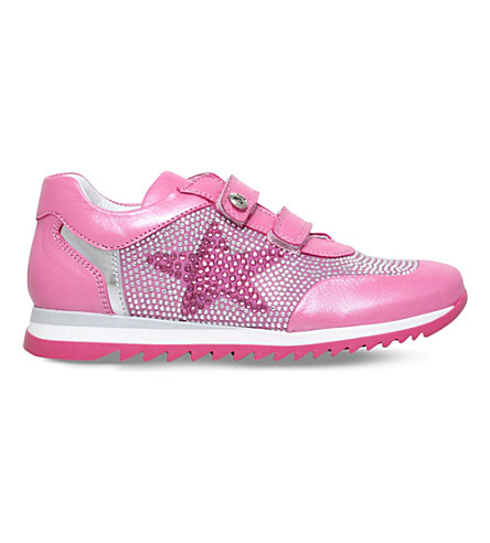 MISSOURI Bluebell iridescent crystal-embellished leather trainers 4-7 years (Pink