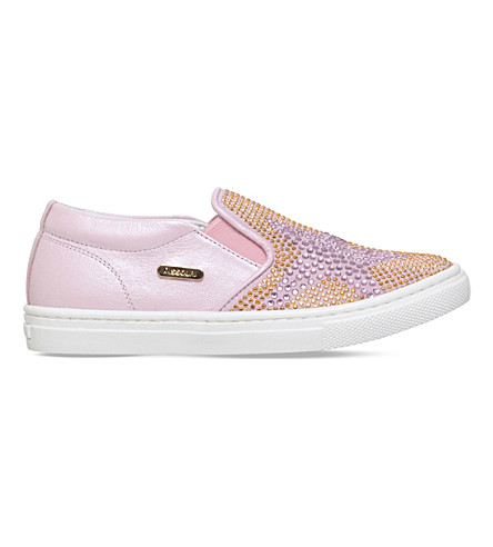 MISSOURI Clover crystal-embellished slip-on leather trainers 4-7 years (Pink