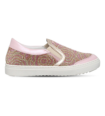 MISSOURI Flora embellished leather skate shoes 6-7 years (Pale+pink
