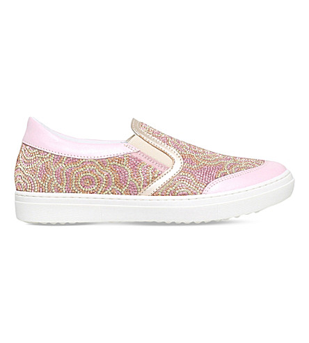 MISSOURI Flora crystal-embellished slip-on leather sneakers 6-9 years (Pale+pink