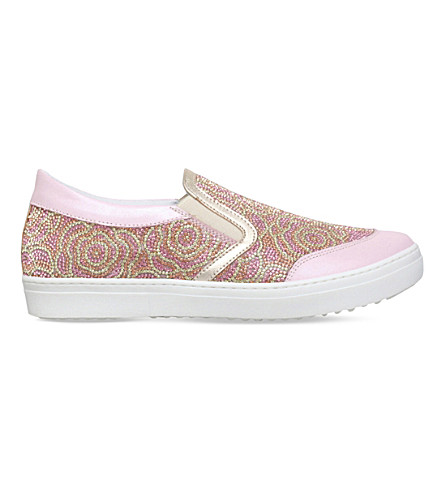 MISSOURI Flora crystal-embellished slip-on leather trainers 8-12 years (Pale+pink