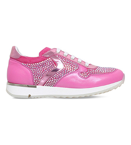 MISSOURI Heather crystal-embellished leather trainers 6-7 years (Pink