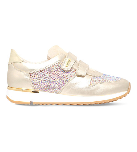 MISSOURI Peony crystal-embellished leather trainers 6-7 years (Gold