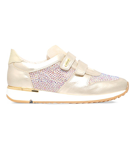 MISSOURI Peony embellished leather trainer 7 - 8 years (Gold