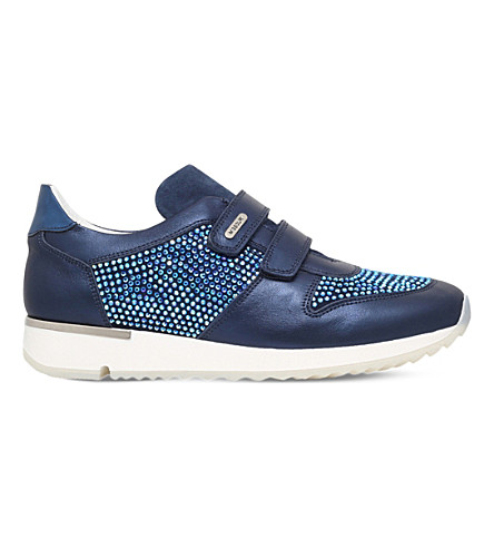 MISSOURI Peony embellished leather trainers 7-8 years (Navy