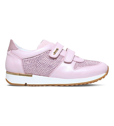 MISSOURI Peony embellished leather trainers 8-11 years (Pale+pink