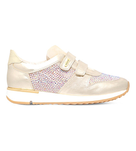 MISSOURI Peony embellished leather trainers 9-11 years (Gold