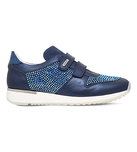 MISSOURI Peony embellished leather sneakers 9-11 years (Navy