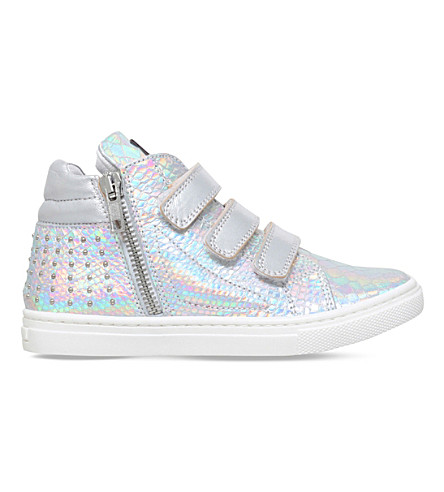 MISSOURI Rose reptile-embossed leather high-top sneakers 2-5 years (Silver