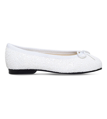 FRENCH SOLE Henrietta glitter ballet pumps 4-9 years (White