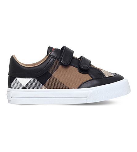 BURBERRY Mini heacham canvas and leather trainers 3-4 years (Black